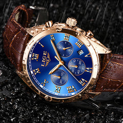 LIGE High End Luxury Mens Watch with Blue Face, 30M Waterproof, Brown