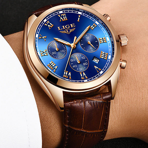 LIGE High End Luxury Mens Watch with Blue Face, all SKUs