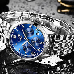 LIGE High End Luxury Mens Watch with Blue Face, Waterproof, Silver