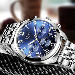 LIGE High End Luxury Mens Watch with Blue Face, Flat, Silver