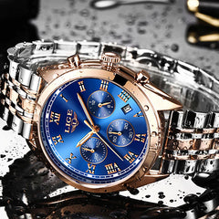 LIGE High End Luxury Mens Watch with Blue Face, Waterproof, Gold w Silver
