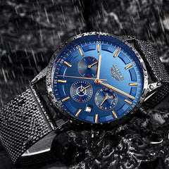 LIGE Mens Luxury Sports Watch, 30M Waterproof, Black w Blue