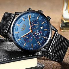 LIGE Mens Luxury Sports Watch, Sideview, Black w Blue