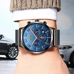 LIGE Mens Luxury Sports Watch, Model Hand, Black w Blue