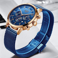 LIGE Mens Luxury Sports Watch, Round, Blue on Blue