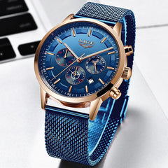 LIGE Mens Luxury Sports Watch, Front, Blue on Blue