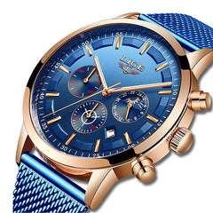 LIGE Mens Luxury Sports Watch, CloseUp, Blue on Blue