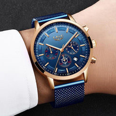 LIGE Mens Luxury Sports Watch, Hand Model, Blue on Blue