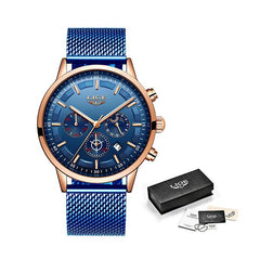 LIGE Mens Luxury Sports Watch, Packaging, Blue on Blue