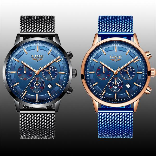 LIGE Mens Luxury Sports Watch, color selections, all SKUs