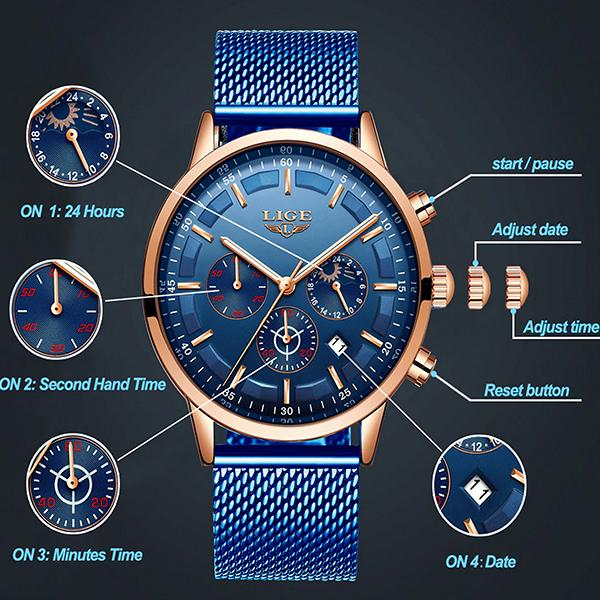 LIGE Mens Luxury Sports Watch, features, all SKUs