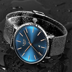 LIGE Womens Casual Ultra Thin Stainless Steel Watch with Blue Face, 30M Waterproof, Black w Gold
