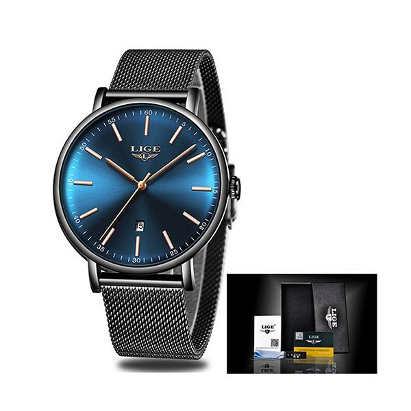 LIGE Womens Casual Ultra Thin Stainless Steel Watch with Blue Face, Packaging, Black w Gold
