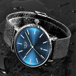 LIGE Womens Casual Ultra Thin Stainless Steel Watch with Blue Face, 30M Waterproof, Black w Silver