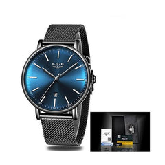 LIGE Womens Casual Ultra Thin Stainless Steel Watch with Blue Face, Packaging, Black w Silver