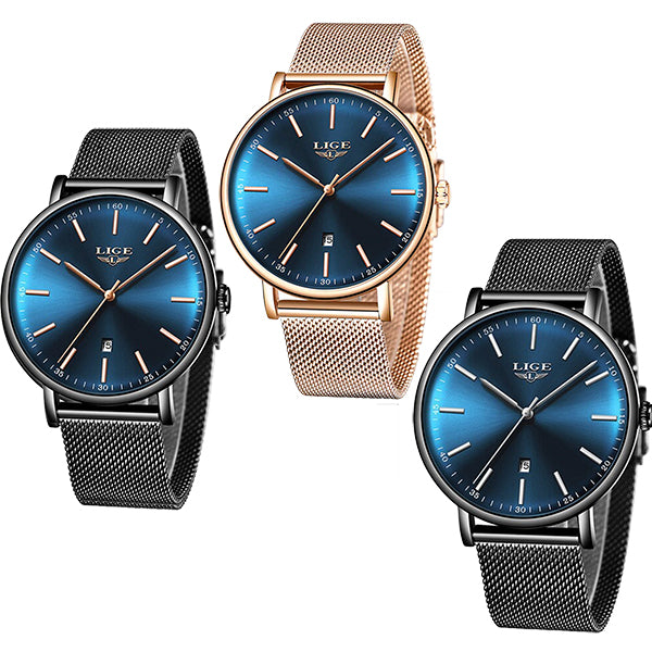 LIGE Womens Casual Ultra Thin Stainless Steel Watch, Color Selections, all SKUs