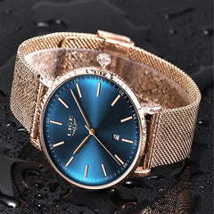 LIGE Womens Casual Ultra Thin Stainless Steel Watch with Blue Face, 30M Waterproof, Gold