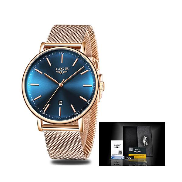 LIGE Womens Casual Ultra Thin Stainless Steel Watch with Blue Face, Packaging, Gold