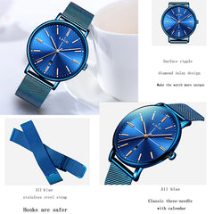 LIGE Womens Luxury Watch, Blue Face, Stainless Steel Mesh Band, Features, all SKUs