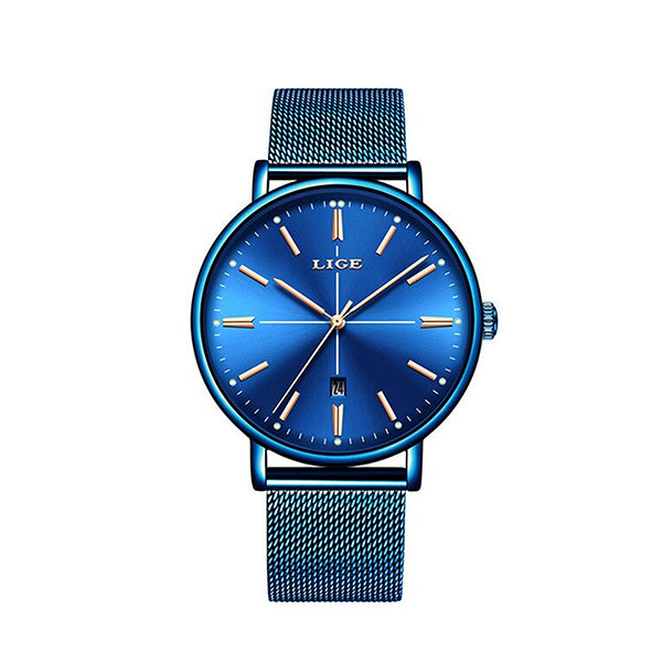 LIGE Womens Luxury Watch, Blue Face, Stainless Steel Mesh Band, Color Selections, all SKUs
