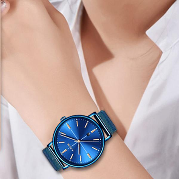 LIGE Womens Luxury Watch, Blue Face, Stainless Steel Mesh Band, Model Hands, Blue