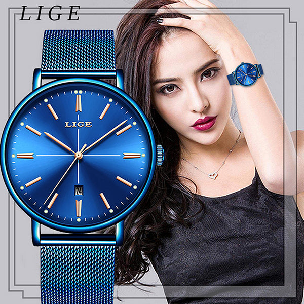 LIGE Womens Luxury Watch, Blue Face, Stainless Steel Mesh Band, Model, all SKUs