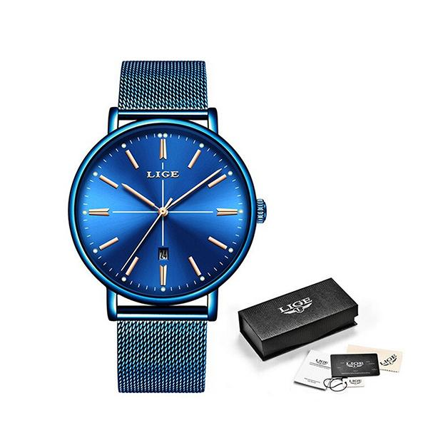 LIGE Womens Luxury Watch, Blue Face, Stainless Steel Mesh Band, Packaging, Blue