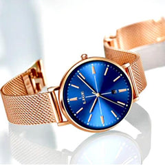 LIGE Womens Luxury Watch, Blue Face, Stainless Steel Mesh Band, sideview, Gold