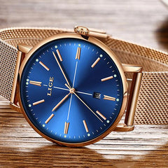 LIGE Womens Luxury Watch, Blue Face, Stainless Steel Mesh Band, Closeup, Gold