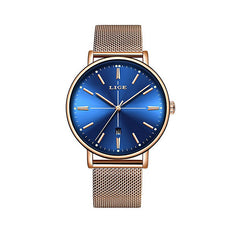 LIGE Womens Luxury Watch, Blue Face, Stainless Steel Mesh Band, 3 Bar