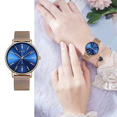 LIGE Womens Luxury Watch, Blue Face, Stainless Steel Mesh Band, Model Hand, Gold