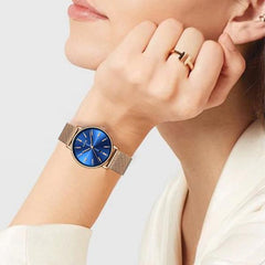 LIGE Womens Luxury Watch, Blue Face, Stainless Steel Mesh Band, Model, Gold