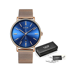LIGE Womens Luxury Watch, Blue Face, Stainless Steel Mesh Band, Packaging, Gold