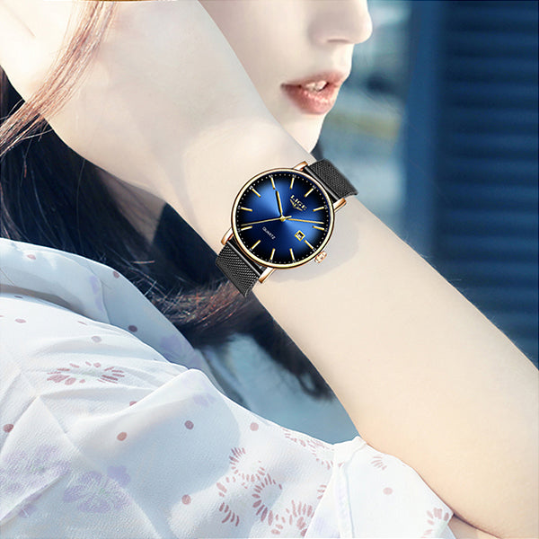 LIGE Womens Simple Elegance Watch, Model Hand, Blue w Black