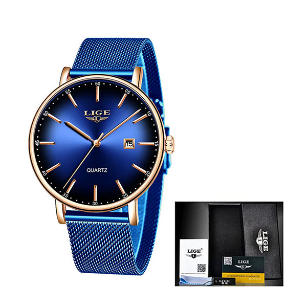 LIGE Womens Simple Elegance Watch, Packaging, Total Blue