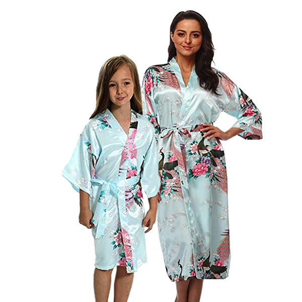 Light Blue Mommy and Me Robes, Floral, Main
