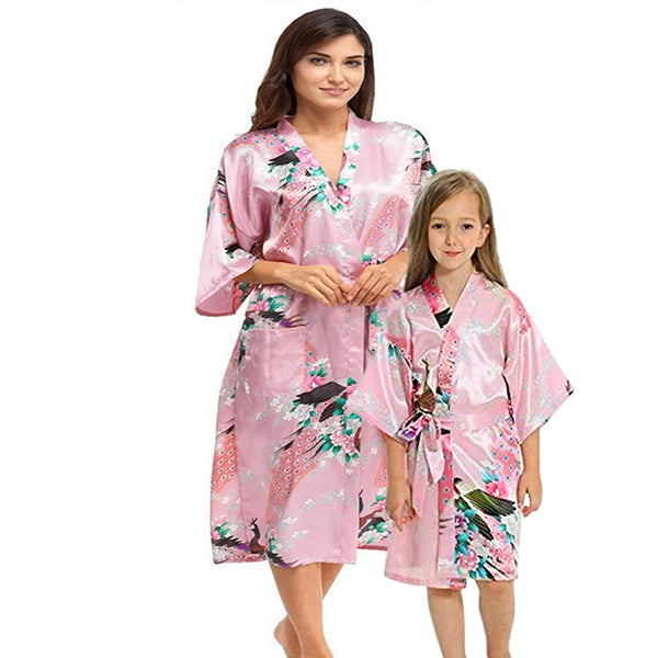 Light Pink Mommy and Me Robes, Floral, Satin, Main, all SKUs