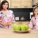 Light Pink Mommy and Me Robes, Floral, Satin, Lifestyle, all SKUs