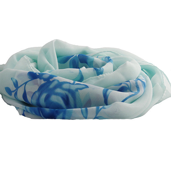 Lightweight Womens Scarf Shawl with Beautiful Design - Gifts Are Blue - 2