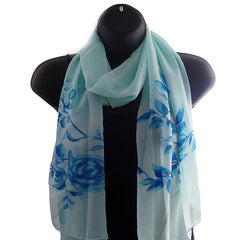 Lightweight Womens Scarf Shawl with Beautiful Design - Gifts Are Blue - 1