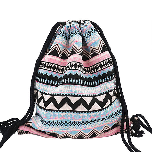 e53a8523776 ... Lilyhood Womens Boho Chic Fabric Drawstring Backpack with Tribal Ethnic  Designs ...