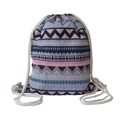 Lilyhood Boho Chic Fabric Drawstring Backpack with Ethnic Designs