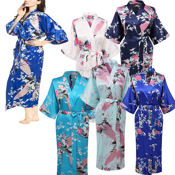 Elegant Long Floral Silk Kimono Womens Robe, Small to 3XL