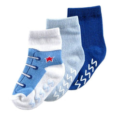 3 Pack Luvable Friends Anti-Slip Non-Skid Shoe Socks - Gifts Are Blue