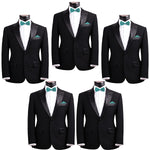 Mens Smooth Satin Feel Formal Pre-Tied Bow Tie and Pocket Square Sets