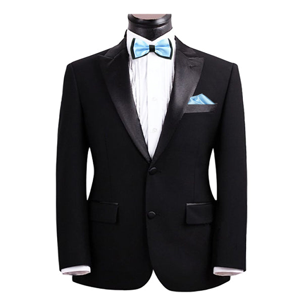 Mens Blue and Black Formal Event Pre-Tied Bow Tie and Pocket Square