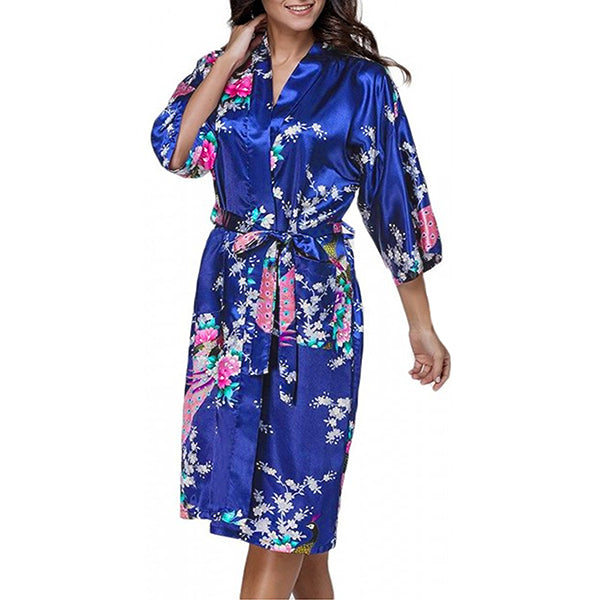 Medium Length Floral Womens Robe, Jewel Blue