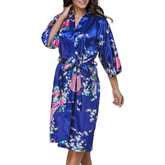 Medium Length Silk Womens Robes - 2 to 18 - Floral Bride & Bridesmaid Robes