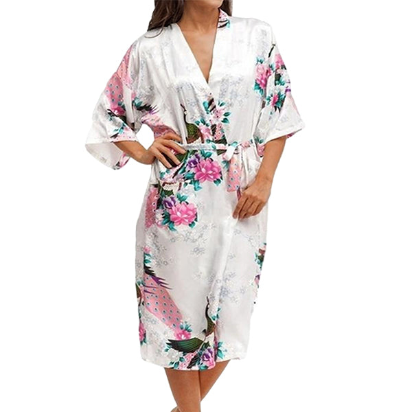 Medium Length Floral Womens Robe, White