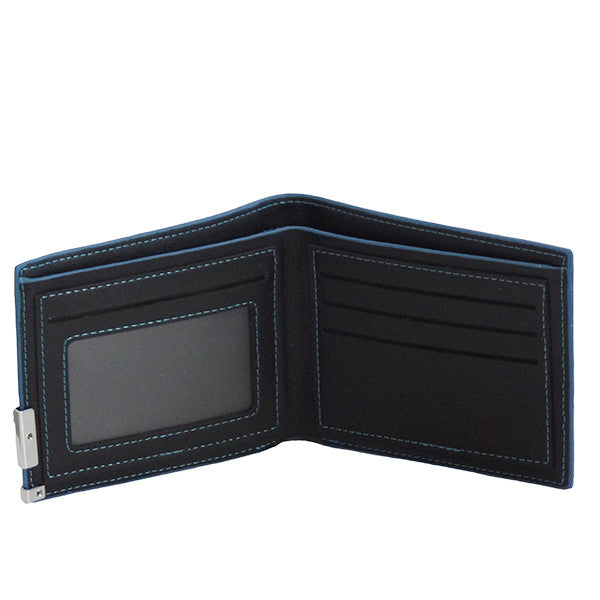 Mens Slim Blue Edge Bi-Fold Wallet - Gifts Are Blue - 3